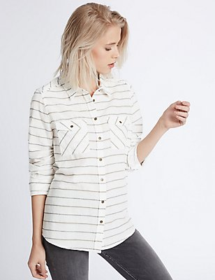 Cotton Rich Striped Long Sleeve Shirt, IVORY MIX, catlanding