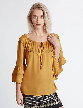 Coin Embellished Flared Sleeve Blouse, OCHRE, catlanding