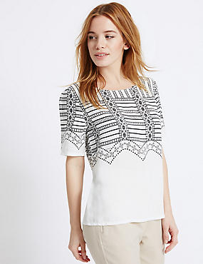 PETITE Printed Short Sleeve Shell Top, IVORY MIX, catlanding