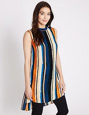 Stripe Print Sleeveless Longline Tunic, MULTI, catlanding