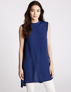 Back Split Sleeveless Longline Tunic, RICH BLUE, catlanding