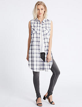 Cotton Rich Checked Longline Shirt, IVORY MIX, catlanding