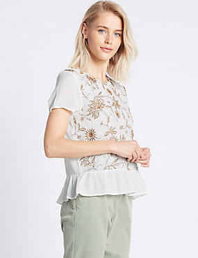 Floral Embroidered Short Sleeve Shell Top, IVORY MIX, catlanding