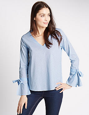 Spotted V-Neck Long Sleeve Shell Top, BLUE MIX, catlanding