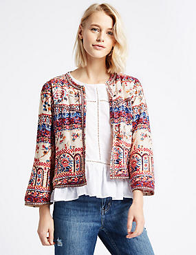 Floral Tile Print Kimono Trophy Jacket, PEACH MIX, catlanding
