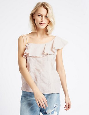Pure Cotton One Shoulder Shell Top, PEACH, catlanding