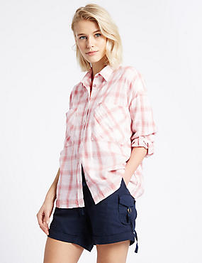Cotton Rich Checked Turn Up Sleeve Shirt, PEACH MIX, catlanding