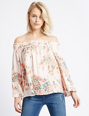 Floral Print Bardot Long Sleeve Blouse, BLUE MIX, catlanding