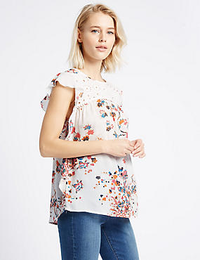 Pure Modal Printed Cap Sleeve Shell Top, MULTI, catlanding