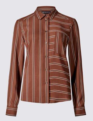 Свободная рубашка в комбинированную полоску