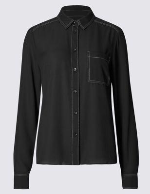 Приталенная рубашка с контрастной строчкой