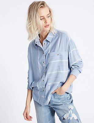 Modal Blend Striped Long Sleeve Shirt, BLUE MIX, catlanding