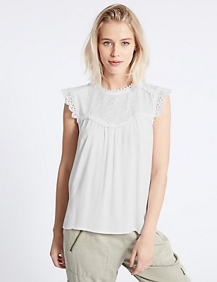 Crinkle Round Neck Cap Sleeve Shell Top, WHITE, catlanding