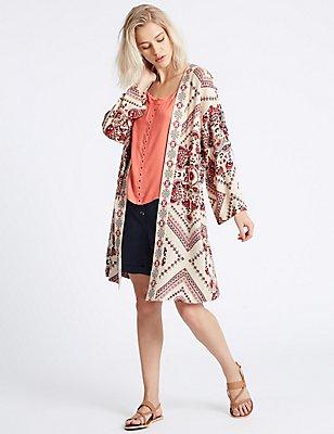 Paisley Print Longline Kimono Blouse, RED MIX, catlanding