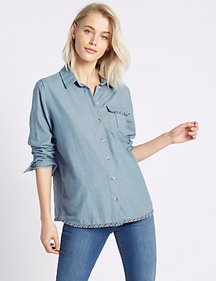 Denim Embroidered Long Sleeve Shirt, CHAMBRAY MIX, catlanding