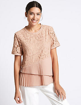 Cotton Blend Floral Lace Pleated Shell Top, TEA ROSE, catlanding