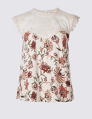 Floral Print Cap Sleeve Shell Top, PINK MIX, catlanding