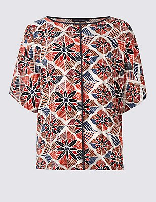 Geometric Print Short Sleeve Shell Top, MULTI, catlanding