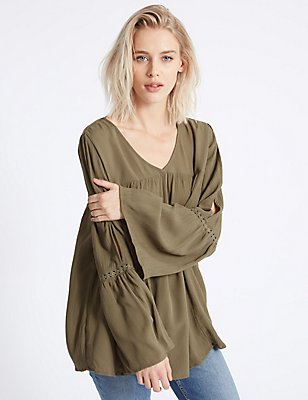 Crinkle Cold Shoulder V-Neck Blouse, KHAKI, catlanding