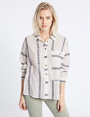 Cotton Blend Striped Long Sleeve Shirt, WHITE MIX, catlanding
