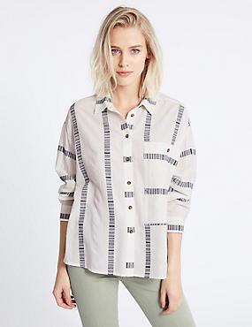 Cotton Blend Striped Long Sleeve Shirt, WHITE MIX, catlanding