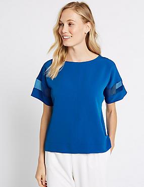 Sheer Sleeve Round Neck Shell Top, RICH BLUE, catlanding