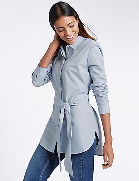 Gestreiftes Hemd aus reiner Baumwolle mit Bindegürtel an der Taille, BLAU MELANGE, catlanding