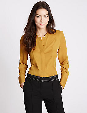 Long Sleeve Popover Blouse, GOLD, catlanding