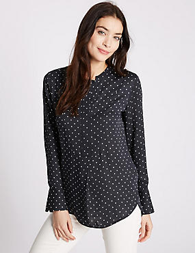 Printed Long Sleeve Blouse, NAVY MIX, catlanding