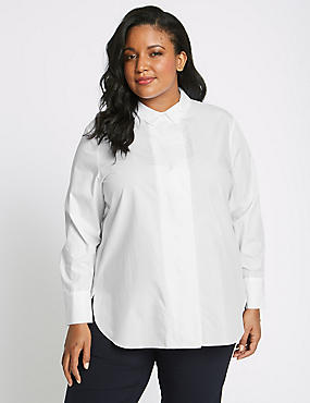 PLUS Pure Cotton Longline Long Sleeve Shirt , WHITE, catlanding