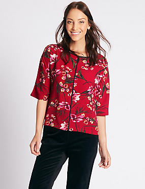 Floral Print Kimono 3/4 Sleeve Blouse, RED MIX, catlanding