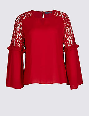 PLUS Lace Insert Flute Sleeve Blouse, RED, catlanding