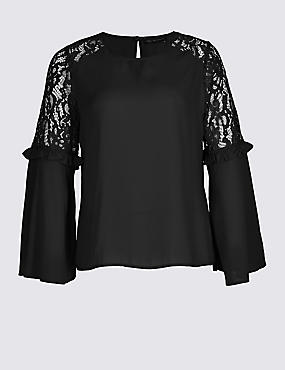PLUS Lace Insert Flute Sleeve Blouse, BLACK, catlanding