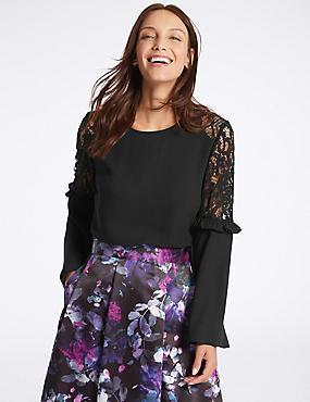 Lace Insert Ruffle Sleeve Blouse, BLACK, catlanding