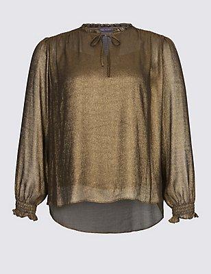 Metallic Notch Neck Long Sleeve Blouse, GOLD, catlanding