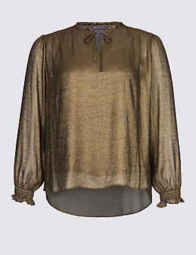 PLUS Metallic Notch Neck Long Sleeve Blouse, GOLD, catlanding