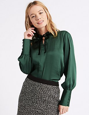 PETITE Velvet Trim Long Sleeve Blouse, GREEN, catlanding