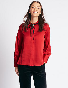 Velvet Trim Round Neck Long Sleeve Blouse, RED, catlanding