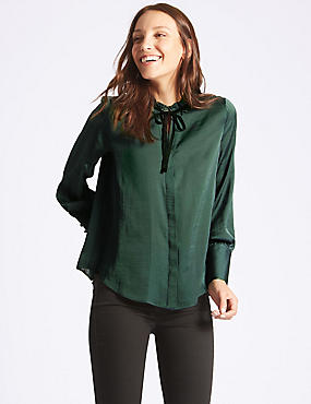 Velvet Trim Round Neck Long Sleeve Blouse, GREEN, catlanding