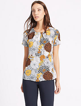 Floral Print Short Sleeve Shell Top, GOLD MIX, catlanding