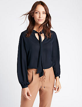 Tie Detail V-Neck Blouse, NAVY, catlanding
