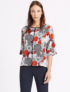 Floral Print Kimono 3/4 Sleeve Shell Top, RED MIX, catlanding