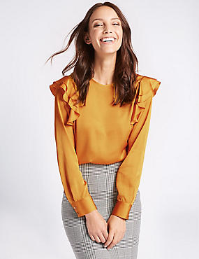 Frill Shoulder Round Neck Shell Top, GOLD, catlanding