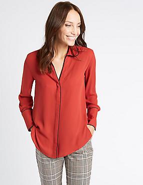 Contrasting Edge Long Sleeve Shirt, SIENNA, catlanding