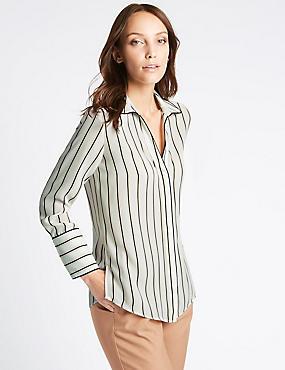 Striped Piping Detail Long Sleeve Shirt, CREAM MIX, catlanding