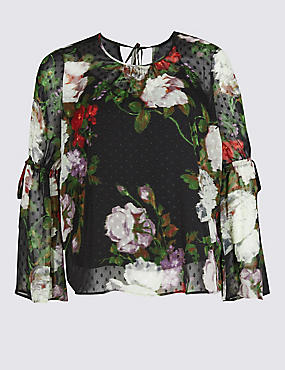 PLUS Floral Print Long Sleeve Blouse, MULTI, catlanding