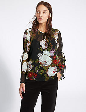 Floral Print Round Neck Long Sleeve Blouse, MULTI, catlanding