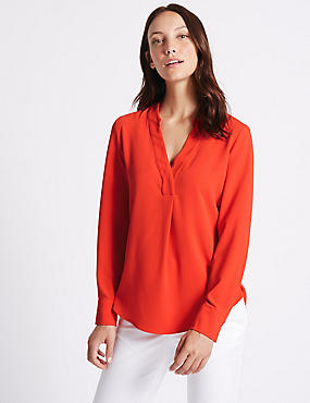 Popover Notch Neck Long Sleeve Tunic, PAPRIKA, catlanding