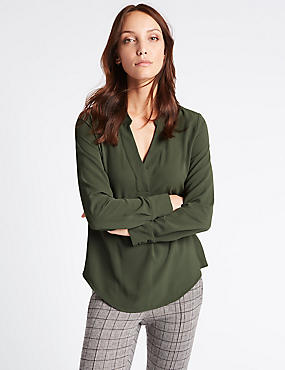 Popover Notch Neck Long Sleeve Tunic, FOREST GREEN, catlanding