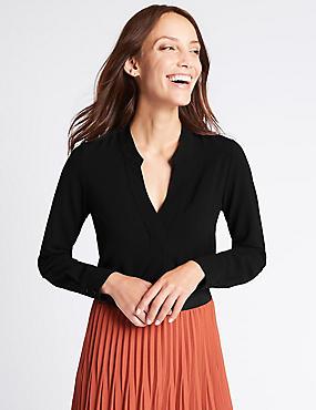 Popover Notch Neck Long Sleeve Tunic, BLACK, catlanding